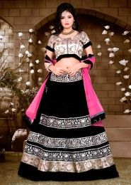 Wedding Wear Banglori Silk Black Heavy Embroidery Work Lehenga Choli