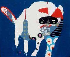 Kate McCarthy Humbug Point Dog - 2013 Acrylic, oil, pencil on canvas 60 x 50 cm Ronald Mcdonald, Canvas, Dogs, Artist, Pencil, Fictional Characters, Tela, Pet Dogs, Artists