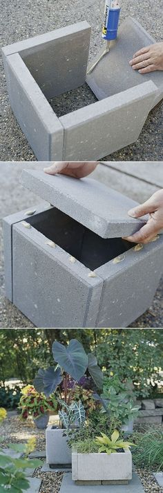 DIY Concrete Planter Box Notice the & # quasi-natural & # Appearance of path combination … - Diy Garden Projects Concrete Planter Boxes, Diy Planter Box, Diy Planters, Garden Planters, Concrete Pavers, Concrete Garden, Cement Planters, Outdoor Planters, Modern Planters