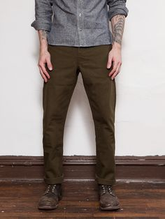 Olive Japanese Duck Miner Chino   LEFT FIELD NYC Timberland Pro Stiefel, Outfit  Braune Hose d010b21a5f