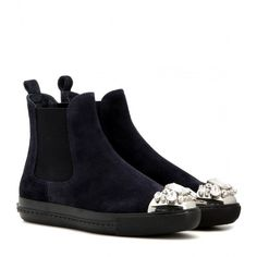 Miu Miu Embellished Suede Chelsea Boots (€850) ❤ liked on Polyvore featuring shoes, boots, ankle booties, blue, blue boots, suede leather boots, miu miu, chelsea bootie and suede boots