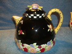 Mary Engelbreit Rhapsody Ceramic Teapot 1997 Free Shipping   eBay
