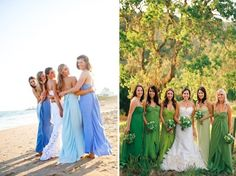 Love this idea where the dresses get lighter and lighter until it's the bride