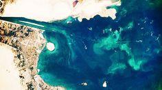 Vista aérea do Grande Lago Amargo, no Egito - NASA