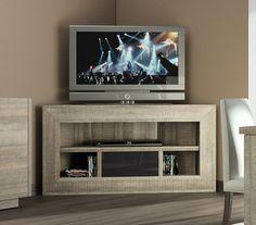 Meuble TV d'angle bas contemporain TEXAS, coloris chêne gris et laqué anthracite