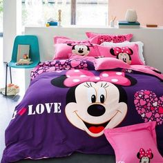 Minnie Mouse Bedding, Mickey Mouse Bedroom, Casa Disney, Disney Rooms, Room Decor Bedroom, Girls Bedroom, Bedrooms, Kids Sofa, Cute Bedroom Ideas