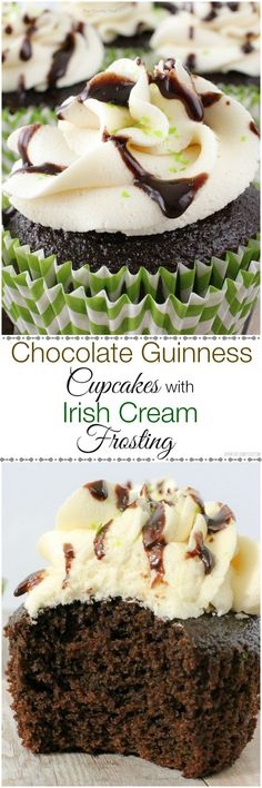 Chocolate Guinness Cupcakes with Bailey's Frosting and Chocolate Drizzle - Cupcakes get an incredible deep chocolate flavor from some Guinness, and they're topped off with a rich Irish Cream frosting and a chocolate sauce drizzle!
