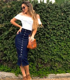 College Outfits, Outfits For Teens, Denim Fashion, Fashion Outfits, Fashion Trends, Modest Summer Outfits, Modest Skirts, Pencil Skirt Work, Jeans Rock