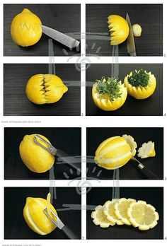 Lemon made from flowers - Food Carving Ideas - Creative Food Food Crafts, Diy Food, Fruits Decoration, Deco Fruit, Lemon Flowers, Creative Food Art, Food Garnishes, Garnishing Ideas, Fruit And Vegetable Carving