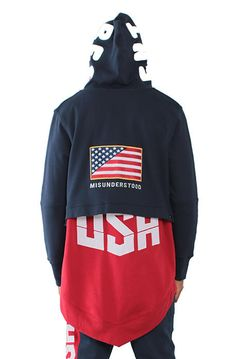 Entree LS MIDWEIGHT FRENCH TERRY OLYMPIC USA NAVYRED HOODIE fce64c606cbb1