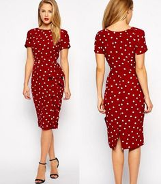 Slim Print Dots O-neck Short Sleeve Knee-length Dress