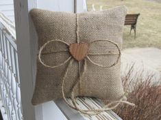Natural Rustic Burlap Ring Bearer Pillow Personalized For Your Wedding Day