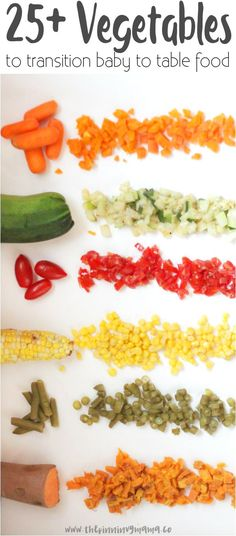 A TON of options for baby finger foods and how to transition to table foods. Great resource!