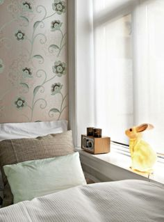 Magical metallic wallpaper that changes colors and a glowing bunny are partnered up with a Tivoli Audio Model One, making this the perfect space to dream. Tivoli Radio, Model One, Metallic Wallpaper, Audio In, Product Offering, Bunny, Mint, Beige, Space