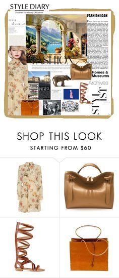 """""""Fashion History"""" by gardeninspired ❤ liked on Polyvore featuring Exclusive for Intermix, Maybelline, Jil Sander, Express, Brave Brown Bag, floraldress and fashionhistory"""
