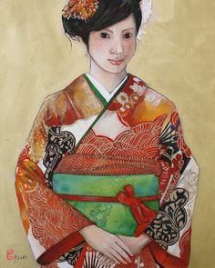 """Autumn -Aki-"" Mixed media on board. www.juuriart.com #japanese, #kimono, #girl, #orange, #furisode"