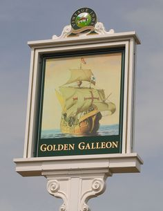 Golden Galleon pub sign Exceat near Seaford Sussex by pondhopper1, via Flickr