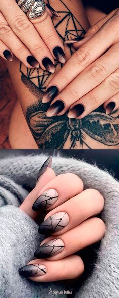 Here are some cute winter nail designs between black and silver glitter nails, black and gold glitter nails, and black marble nails designs. Black Marble Nails, Black Ombre Nails, Black Almond Nails, Silver Glitter Nails, Black Nail Art, Blue Nails, Black Art, Nail Design Spring, Winter Nail Designs