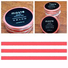Maste Washi Tape - Grand - Dark Pink Horizontal Stripes