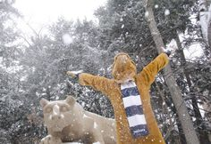 From Twitter/penn_state: The Nittany Lion is having a blast in the snow.