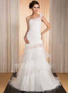 Trumpet/Mermaid One-Shoulder Court Train Organza Wedding Dress With Flower(s) Cascading Ruffles (002031863)