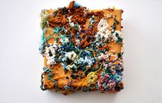 """Embroidery; """"Attached"""" 2012 Embroidery; 4""""x4"""" https://rebeccadarylsmith.squarespace.com/ https://www.etsy.com/shop/rebeccadaryl"""