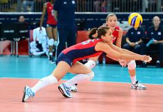 Logan Tom dives for the ball against Turkey at Earls Court. The U.S. defeated Turkey in straight sets.