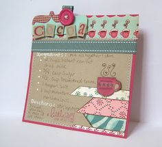 Idea for Recipe Cards for Scrapbook Cookbook Scrapbook Paper Crafts, Scrapbook Cards, Scrapbook Recipe Book, Card Book, Scrapbook Page Layouts, Recipe Cards, Homemade Cards, Cardmaking, Recipe Templates