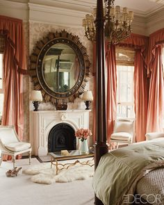 This bedroom is so girlie and there's so many elements that stick out. The coral colored drapery particularly caught my eye in Elle Decor's spread of decorator Richard Keith Langham's transformation of a New Orleans home.