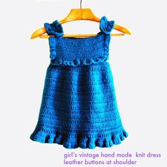 70s girls dress/hand knit jumper dress in dark teal turquoise/ sporty children clothing. $20.00, via Etsy.