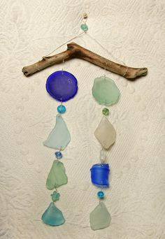 Sea Glass Suncatcher Mobile in Shades of the Sea by oceansbounty, $28.00