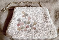 White Vintage Beaded Satin Lined Hand Painted Clutch / Coin Purse w/Chain Strap #Unbranded #ChangePurse