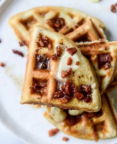 crispy bacon waffles with bourbon butter + blueberry syrup. Didn't top with bacon and should've Bourbon, Bacon Waffles, Blueberry Syrup, Butter, Waffle Recipes, How Sweet Eats, Love Food, Breakfast Recipes, Breakfast Ideas