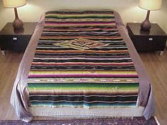 Vintage 40's MEXICAN SALTILLO, SOUTHWESTERN NEW MEXICO Wool Serape BLANKET