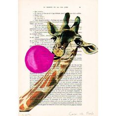 Fantasy Giraffe Print, Animal with bubblegum, Original Artwork, French... ❤ liked on Polyvore featuring home, home decor, wall art, pink home decor, ink painting, dutch paintings, animal signs and hand illustration