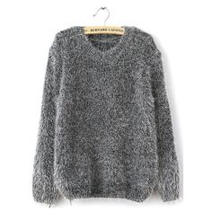 SheIn(sheinside) Grey Long Sleeve Shaggy Mohair Loose Sweater ($15) ❤ liked on Polyvore featuring tops, sweaters, sheinside, grey, gray pullover, gray sweater, loose pullover sweater, grey pullover sweater and gray pullover sweater