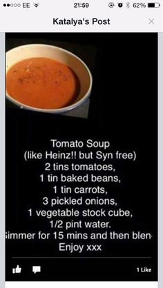 Syn free tomato soup for Slimming World recipe ideas