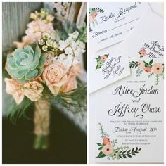 Romantic peach and mint hues are perfect for a spring wedding! Send us a photo of your wedding flowers and we can customize an invitation just for you. #BeholdDesignz