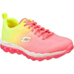 It's like walking on air with the SKECHERS Skech-Air - Perfect Quest shoe. Skech-Knit Mesh fabric upper with ombre color effect in a lace up athletic walking and training shoe with unique visible air cushioned outsole. Padded collar