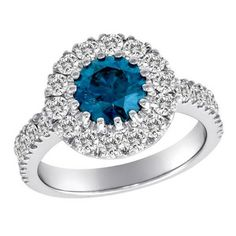 3 CT. Blue + White Diamond Engagement Ring