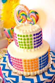 Candy dot cake at a Katy Perry birthday party! See more party planning ideas at CatchMyParty.com!