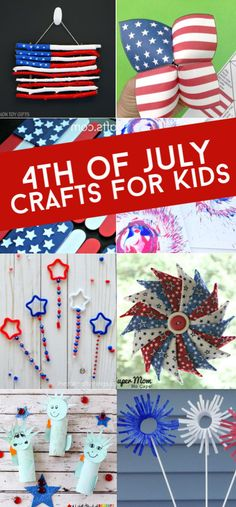 Easy 4th of July crafts for kids. Create flags, fireworks, and more red white and blue crafts. These patriotic crafts are perfect for your Independence day party. #twitchetts #4thofjuly #patriotic
