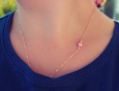 DAINTY OPAL NECKLACE  October birthstone  by galwaydesigns on Etsy