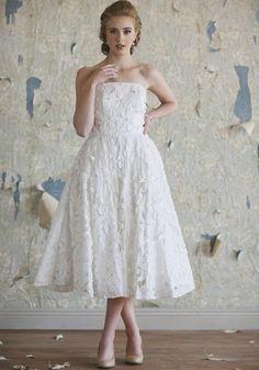 Tiffany Floral Wedding Dress | Tea Length Wedding Dresses And Floral Bridal Dresses At ShopRuche.com