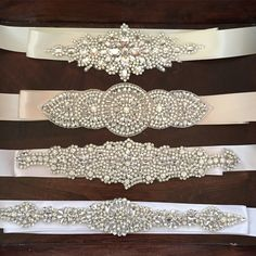 Crystal Rhinestone Bridal Belts I love sparkles, I still have my wedding belt from my wedding dress in a scrapbook. One day my girls will get to wear on their wedding day too (if they want to). Wedding inspo keep it coming Wedding Belts, Wedding Sash, Bridal Sash, Bridal Belts, Wedding Dress, Rhinestone Belt, Crystal Rhinestone, Hand Embroidery Designs, Beaded Embroidery