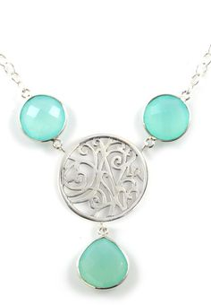 Aqua Chalcedony and Sterling Silver Necklace