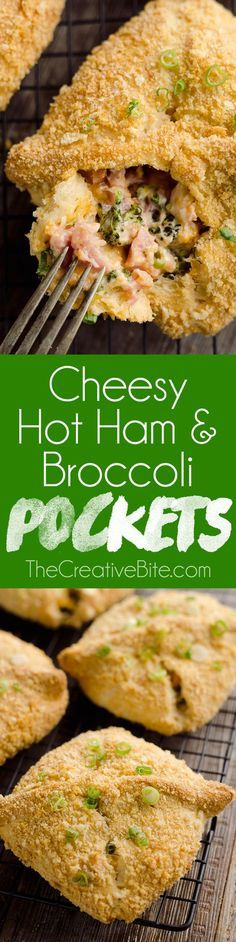 Cheesy Hot Ham & Broccoli Crescent Pockets are a family friendly dinner idea perfect for using up leftover ham! Flaky crescents are filled with a cheddar, broccoli and ham mixture and topped with buttery croutons for a mouthwatering recipe everyone will devour. #Leftover #Ham #HotPockets