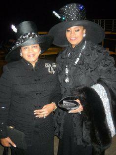 Karen Clark Sheard and Karon Phillips in Black hats