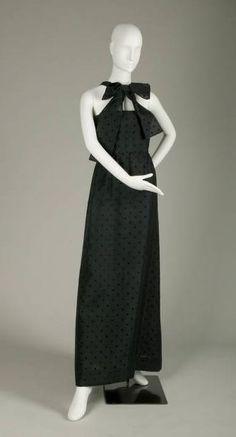 Evening Dress, Adrien de Givenchy (1896-1986), Paris, France: ca. 1966, silk gazar with overall print of raised black dots.