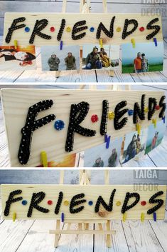 Friends photo hanger with string art. Great gift for that friend who is always re-watching the Friends episodes. #stringart #ad #wallart #walldecor #homedecor #photohanger #friends #giftideas #friendship #handmade #signs #woodsigns